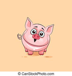 isolated Emoji character cartoon Pig surprised with big eyes...