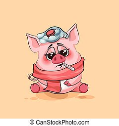 isolated Emoji character cartoon Pig sick with thermometer in mouth sticker emoticon