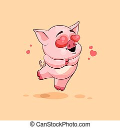 Isolated Emoji Character Cartoon Pig In Love Flying With Hearts Sticker Emoticon