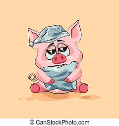 isolated Emoji character cartoon sleepy Pig in nightcap with pillow sticker emoticon