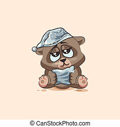 isolated Emoji character cartoon sleepy Bear in nightcap with pillow sticker emoticon