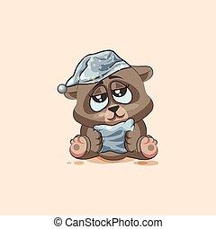 isolated Emoji character cartoon sleepy Bear in nightcap with pillow sticker emoticon