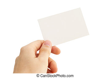empty business card in a human hand