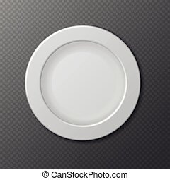 Isolated empty ceramic dish plate realistic vector illustration