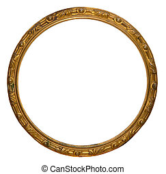 Isolated empty round golden handmade frame
