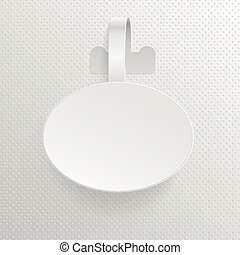 Isolated empty white advertising plastic oval shelf wobbler vector illustration