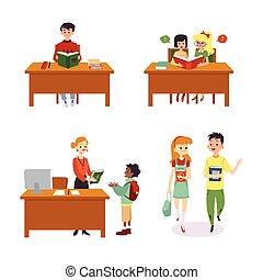 isolated., enfants, bibliothèque, dessin animé, scènes, ensemble, illustration, plat