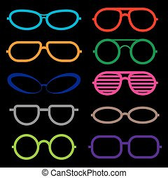 isolated., ensemble, lunettes soleil, lunettes