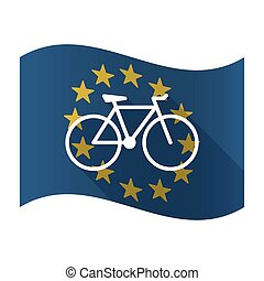 Illustration of an isolated waving EU flaw with a bicycle