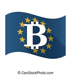 Illustration of an isolated waving EU flaw with a bit coin sign