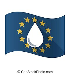 Illustration of an isolated waving EU flaw with a blood drop