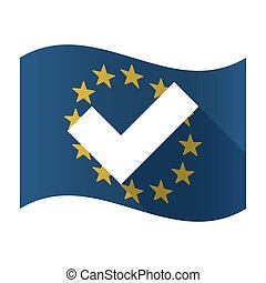 Illustration of an isolated waving EU flaw with a check mark