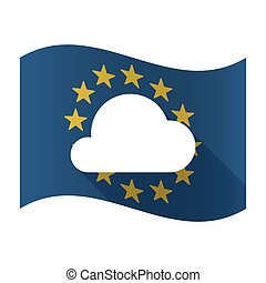 Illustration of an isolated waving EU flaw with a cloud