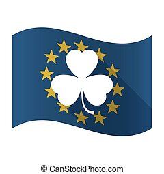 Illustration of an isolated waving EU flaw with a clover