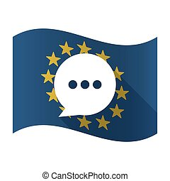 Illustration of an isolated waving EU flaw with a comic balloon
