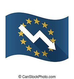 Illustration of an isolated waving EU flaw with a descending graph