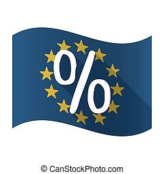 Illustration of an isolated waving EU flaw with a discount sign
