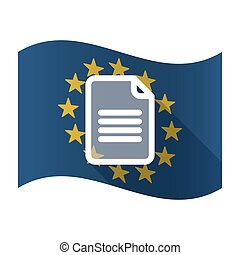 Illustration of an isolated waving EU flaw with a document