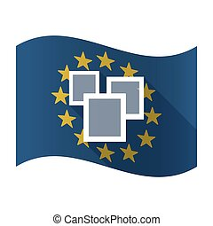 Illustration of an isolated waving EU flaw with a few photos