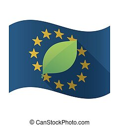 Illustration of an isolated waving EU flaw with a green leaf