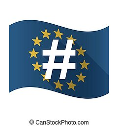 Illustration of an isolated waving EU flaw with a hash tag