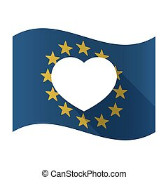 Illustration of an isolated waving EU flaw with a heart