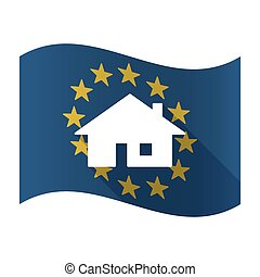 Illustration of an isolated waving EU flaw with a house