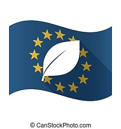 Illustration of an isolated waving EU flaw with a leaf