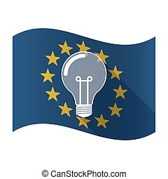 Illustration of an isolated waving EU flaw with a light bulb