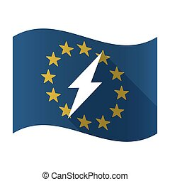 Illustration of an isolated waving EU flaw with a lightning