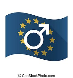 Illustration of an isolated waving EU flaw with a male sign