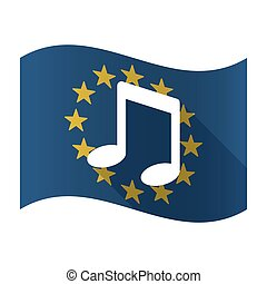 Illustration of an isolated waving EU flaw with a note music