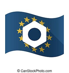 Illustration of an isolated waving EU flaw with a nut