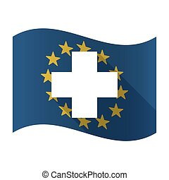 Illustration of an isolated waving EU flaw with a pharmacy sign