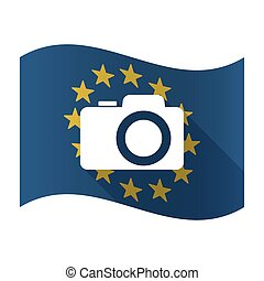 Illustration of an isolated waving EU flaw with a photo camera