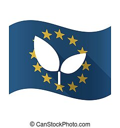 Illustration of an isolated waving EU flaw with a plant