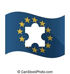 Illustration of an isolated waving EU flaw with a puzzle piece