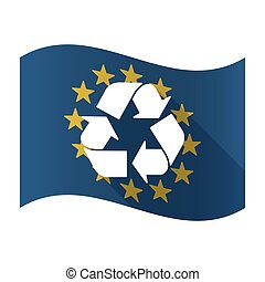 Illustration of an isolated waving EU flaw with a recycle sign