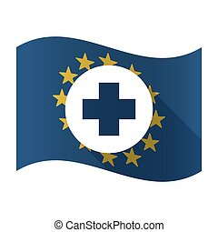 Illustration of an isolated waving EU flaw with a round pharmacy sign