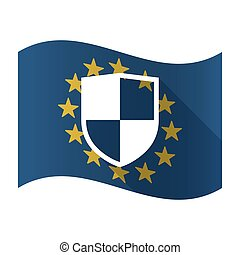 Illustration of an isolated waving EU flaw with a shield