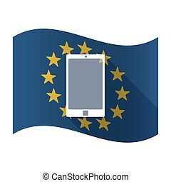 Illustration of an isolated waving EU flaw with a smart phone
