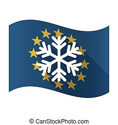 Illustration of an isolated waving EU flaw with a snow flake