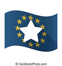 Illustration of an isolated waving EU flaw with a star