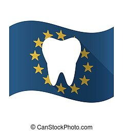 Illustration of an isolated waving EU flaw with a tooth