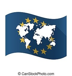 Illustration of an isolated waving EU flaw with a world map