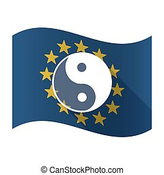 Illustration of an isolated waving EU flaw with a ying yang