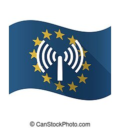 Illustration of an isolated waving EU flaw with an antenna