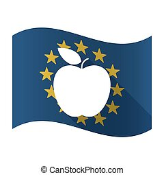 Illustration of an isolated waving EU flaw with an apple