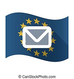 Illustration of an isolated waving EU flaw with an envelope
