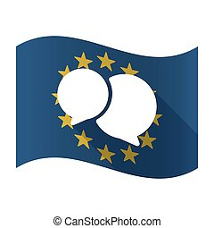 Illustration of an isolated waving EU flaw with comic balloons